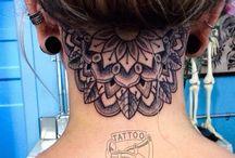 back of neck mandala tattoo