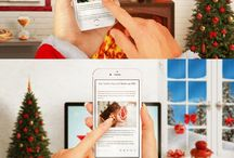 Christmas iPhone 6S Mockup / New iPhone 6S in Santa Claus hand! PSD Photoshop mockup of iPHone 6s in Christmas time in beautiful interior with lots of Christmas decorations, lights, balls, gifts… For atmosphere took care fireplace!