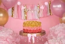 Gold Glam Rosette Cake