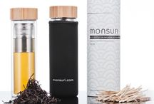 Monsuri Glass Infuser Bottle / Make drinking water more fun! Keep hydrated and stay healthy!  Buy this double wall glass bottle with a stylish bamboo lid and versatile infuser to make your own fruit infused water, loose leaf tea infusion or coffee brew!