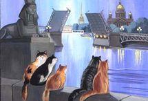 котохудожник Татьяна Родионова (Tatyana Rodionova) / Татьяна Родионова о себе – «Я живу в пригороде Петербурга. У меня 5 кошек. Все они живут на свободе, т.е. когда хотят приходят, когда хотят уходят иногда надолго. Зимой приводят своих друзей подхарчиться. И служат для меня источником вдохновения.