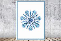 Snowflake Printable Art, Holiday Decor / Snowflake Printable Art, Christmas Print, Holiday Decor