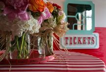 Stripes / Weddings and events showcasing striped tablecloths and accents, also featuring other design inspiration