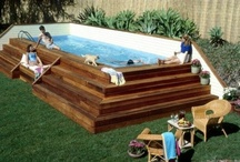 Swimming pools above the ground with a deck.