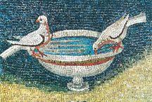 mosaici animali e fiori