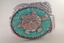"""Sea Life Belt Buckles / Add a beautiful """"Sea Life"""" belt buckle to any outfit to bump it up a notch!  All of our buckles are handmade with Swarovski Crystals and come with a leather belt.  See our website for our bull collection. http://www.buckleyourbelt.com"""