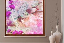 Fotofolie Pflanzen / Lichtdurchlässige Fotofolie mit floralem Design als Sichtschutz für das Fenster