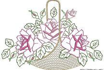 Схемы роз для вышивки гладь