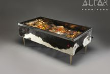 Luxury coffee table converted from 1987 Williams pinball Fire! / This unique gem, matching the playfield's Great Chicago Fire theme is covered in premium cowhide (Mrs. O'Leary's cow ruined that day for the windy city), has US made fire nozzles as legs, and boasts  fully rebuilt LED lighting (with original lighting design). The original plunger, flame-imitating cylinder mech. all work. Press the left button, and you hear the guilty cow moo. More info on this, and upcoming furniture at: https://www.facebook.com/pages/Arcade-Furniture/208886032582245?fref=ts