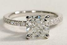Engagement rings. / Engagement, diamond, cushion, white