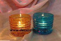 Glass Crackle Candle Votive