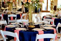 Wedding / Navy and coral table settings