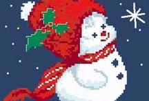 Punto croce Natale Snowmen