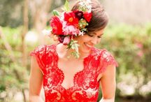 Red and Wine Coloured Wedding dresses / More info here: http://quirkybride.com/wedding-dresses/quirk-alert-red-and-wine-wedding-dresses/
