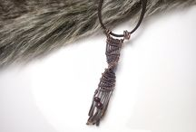 Medené šperky / Tepané medené prívesky s minerálom, osobné talizmany