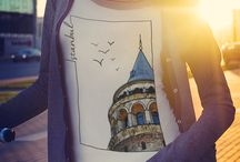 My Istanbul / A #tee collection of beautiful #sights & lovely #souvenirs from the colorful #Istanbul #design #travel #coffee #tea #bagel #simit #cay #kahve #galata #nargile #fashion #casual #street