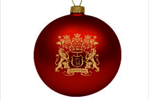 christmas ornaments with printed company logo