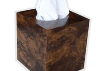 Exotic wood tissue box covers cube size / Use these gorgeous one of a kind wood cube size tissue box covers in your bathroom, kitchen or bedroom, embellishing your decor with this highly decorative and unique accent piece.