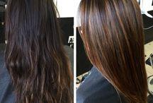 Highlighted brown hair