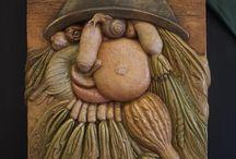"""Bas-relief Arcimboldo / Bassorilievo terracotta  Omaggio a """"L'ortolano o Ortaggi in una ciotola"""" Giuseppe Arcimboldo"""