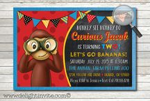 Curious George Birthday Invitation Set! / Curious George party kit, invitations, favor tags, water bottle labels, thank you cards