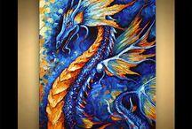 Canvas dragons