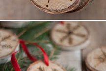 Rustic wood burn christmas decor