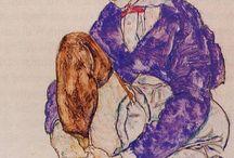 Egon Schiele (1890 - 1918) / Egon Schiele (ur. 12 czerwca 1890 w Tulln an der Donau, zm. 31 października 1918 w Wiedniu) – austriacki malarz i grafik. Wykształcił indywidualny styl, inspirowany secesją. Autor ekspresyjnych aktów, autoportretów i portretów (m.in. Para miłosna), ale i wielu pejzaży. Był oskarżany o szerzenie pornografii.