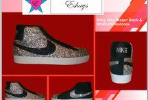Bling Rhinestone Nike Blazers SB / #nikeblazer #blazersb #skateboard #nameonshoes #initial #weddingdate #white #whitedunks #custom #customize #whiteweddingshoes #dunks #dunkskyhi #skyhi #wedges #wedgesneakers #whitegray #rhinestones #bling #bride #brideshoes #braidmaids #unique #uniquewedding #eshaysdesigns