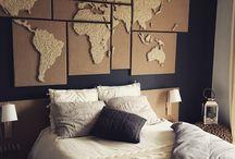 """Map Monde cosy en """"String-art"""" by DIMENSYON / Map monde en """"String-art"""" en toile de jute. 8 cadres by DIMENSYON"""