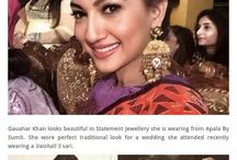Ravishing look of Gauhar Khan caught the fancy of shutterbugs as she donned imposing statement earrings of Apala By Sumit. Featured by Fashion & Flick.