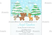 Blue Winter Wonderland Woodland Animals Shower / This collection features cute woodland animals - a rabbit, bear, reindeer and squirrel. In the background is a winter scene with falling white snowflakes on a blue background, trees coated with snow and bauble fairy lights.