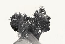 Double Exposure Portraits / Humans meld with natural and unnatural elements.