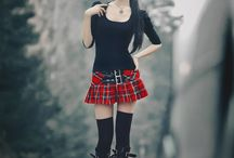 Red plaited skirt outfits