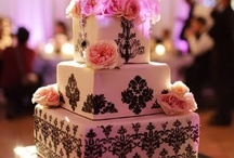 black damask and hot pink wedding