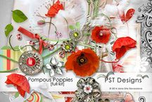 Pompous Poppies / https://www.pickleberrypop.com/shop/product.php?productid=33302&cat=0&page=1  digiscrapbook kit with poppies and very beautiful brooches in the main