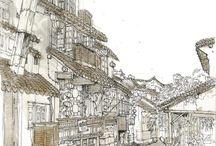 China, Xitang. Old river village. Urban sketch