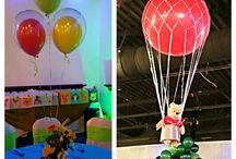 Pooh Bear Party Balloon Decorations / Hot Air balloons, and custom balloon arch for a Pooh Bear themed party