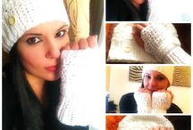 White crochet cap and gloves