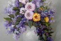anemoni Gll/rosa con Lilla in vaso