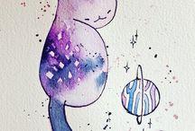 aquarelle / galaxies / peinture / Beaucoup d'aquarelle réaliser par des personnes super talentueux !  Ou alors pleins de modèle galaxie . Des tableaux a faire e. aquarelle.