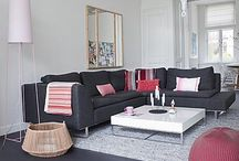 Red+grey interiors
