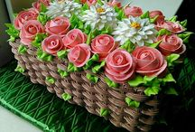 tarta cesta flores