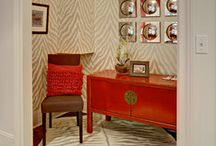 """COLOR: Pop it Red! / As with red lipstick or red nail polish,red home decor makes a bold statement in any room. Red looks great on furniture, lighting, accessories, fabrics, and flooring. Use with caution on the walls, always ask yourself when adding it to a wall,""""will I like it 10 years from now?"""" If you love red, then by all means, drench your walls!!"""
