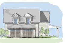 Tidewater Reach Garage Plan / The Tidewater Reach Garage plan features space for three parked cars. The first level also has a powder room and a covered porch. Upstairs there is an open living area with kitchenette, a guest bedroom and full bathroom. Also on this level is ample storage space and a laundry room at the top of the stairs.