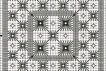 Blackwork & more / Free patterns and stitched examples of Blackwork. Although often done on linen, Blackwork can easily be adapted to needlepoint.