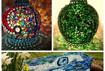 Stained Glass Mosaic Garden Lamps by Sue Smith