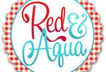 R e d & A q u a / by bluetiful living (Paula Bell)