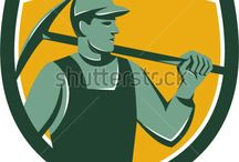 Workers / Royalty-free stock images and illustrations on industrial workers, tradesmen and craftsmen art graphics done in retro style.