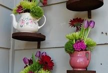 Creative Container Gardening / Teapots, tin cans, tyres, wellie boots. Different garden planter ideas.